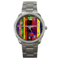 Abstract Art Geometric Background Sport Metal Watch