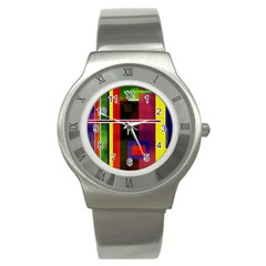 Abstract Art Geometric Background Stainless Steel Watch