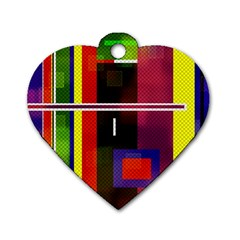 Abstract Art Geometric Background Dog Tag Heart (Two Sides)