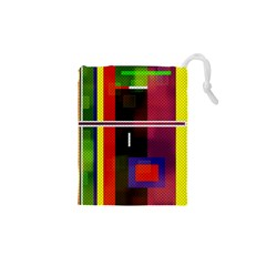 Abstract Art Geometric Background Drawstring Pouches (XS)