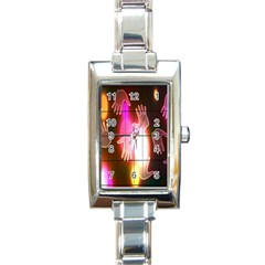 Abstract Background Design Squares Rectangle Italian Charm Watch