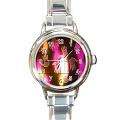 Abstract Background Design Squares Round Italian Charm Watch