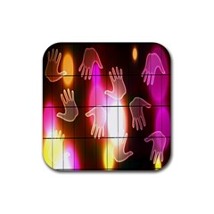 Abstract Background Design Squares Rubber Coaster (Square)
