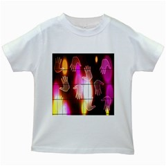 Abstract Background Design Squares Kids White T-Shirts