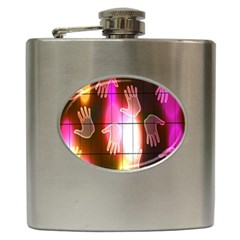 Abstract Background Design Squares Hip Flask (6 oz)