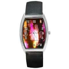 Abstract Background Design Squares Barrel Style Metal Watch