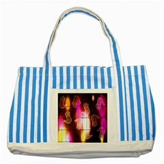 Abstract Background Design Squares Striped Blue Tote Bag