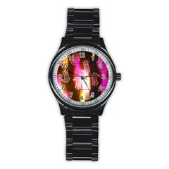 Abstract Background Design Squares Stainless Steel Round Watch