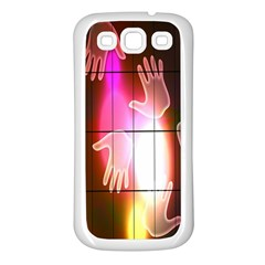 Abstract Background Design Squares Samsung Galaxy S3 Back Case (White)