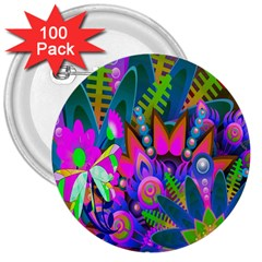 Abstract Digital Art  3  Buttons (100 pack)