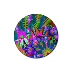 Abstract Digital Art  Rubber Coaster (Round)