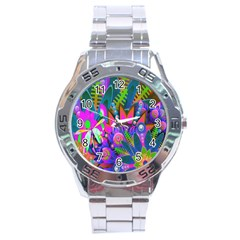 Abstract Digital Art  Stainless Steel Analogue Watch