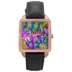 Abstract Digital Art  Rose Gold Leather Watch