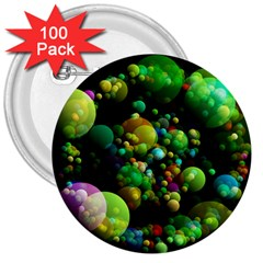 Abstract Balls Color About 3  Buttons (100 pack)