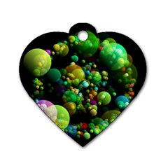 Abstract Balls Color About Dog Tag Heart (one Side)