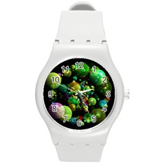 Abstract Balls Color About Round Plastic Sport Watch (m)