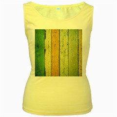 Abstract Board Construction Panel Women s Yellow Tank Top