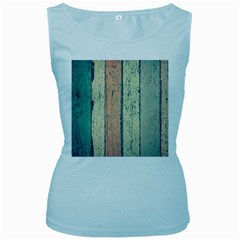 Abstract Board Construction Panel Women s Baby Blue Tank Top