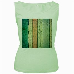 Abstract Board Construction Panel Women s Green Tank Top