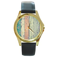 Abstract Board Construction Panel Round Gold Metal Watch