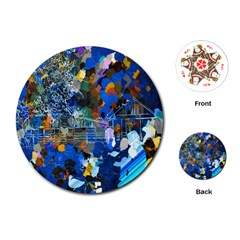 Abstract Farm Digital Art Playing Cards (round)