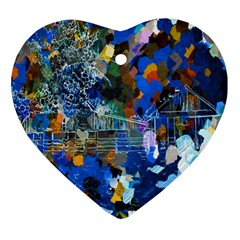 Abstract Farm Digital Art Heart Ornament (Two Sides)