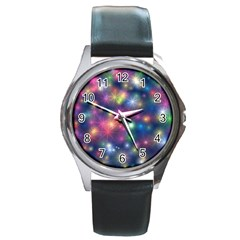 Abstract Background Graphic Design Round Metal Watch