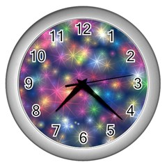 Abstract Background Graphic Design Wall Clocks (Silver)