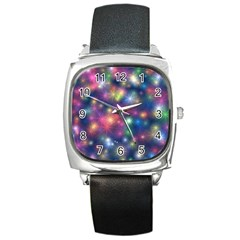 Abstract Background Graphic Design Square Metal Watch