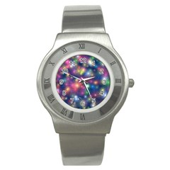 Abstract Background Graphic Design Stainless Steel Watch