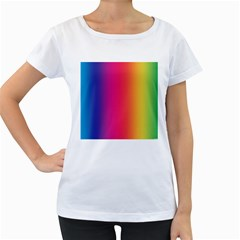 Abstract Rainbow Women s Loose-Fit T-Shirt (White)