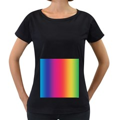 Abstract Rainbow Women s Loose-Fit T-Shirt (Black)