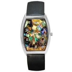 Abstract Digital Art Barrel Style Metal Watch