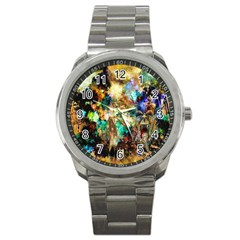 Abstract Digital Art Sport Metal Watch