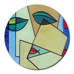 Abstract Art Face Round Mousepads