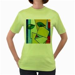 Abstract Art Face Women s Green T-Shirt