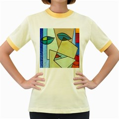 Abstract Art Face Women s Fitted Ringer T Shirts