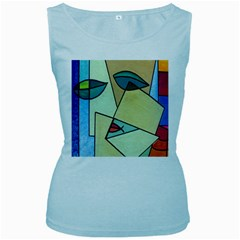 Abstract Art Face Women s Baby Blue Tank Top