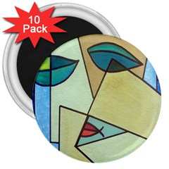 Abstract Art Face 3  Magnets (10 Pack)
