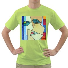 Abstract Art Face Green T-Shirt