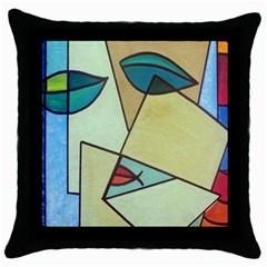 Abstract Art Face Throw Pillow Case (Black)