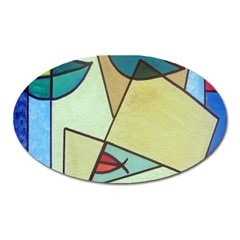 Abstract Art Face Oval Magnet