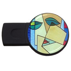 Abstract Art Face USB Flash Drive Round (1 GB)