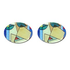 Abstract Art Face Cufflinks (Oval)