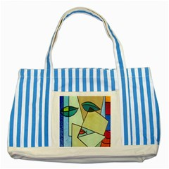 Abstract Art Face Striped Blue Tote Bag