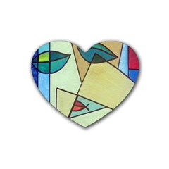 Abstract Art Face Heart Coaster (4 pack)