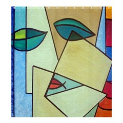 Abstract Art Face Shower Curtain 66  x 72  (Large)