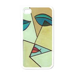 Abstract Art Face Apple iPhone 4 Case (White)