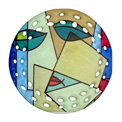 Abstract Art Face Round Filigree Ornament (Two Sides)