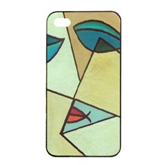 Abstract Art Face Apple iPhone 4/4s Seamless Case (Black)